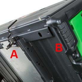 Integrated handle (B) and latch (A)