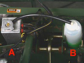 Single fill point (A) and overflow bottle (B)