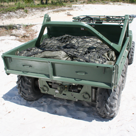 Two external tie-downs on tailgate of cargo box