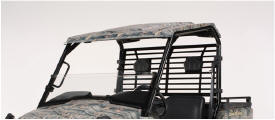 Poly roof shown on camo XUV with optional brake light and taillight kit, OPS rear screen, and OPS half windshield (front)