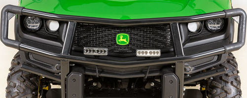 Auxiliary lights mounted on brush guard (sold separately)