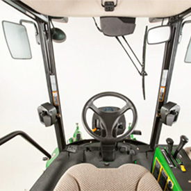 Zicht met de ComfortCab vanaf de bestuurdersstoel