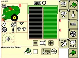 De groene kolom geeft de doeldiameter van de balen weer - de zwarte kolom geeft de status van de balendiameter weer