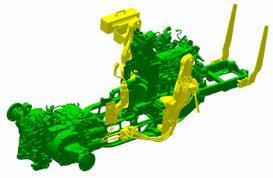 Op trekkermontage voorbereide voorlader die compatibel is met de 5M met een motorkapbeschermer en gereedschapskist