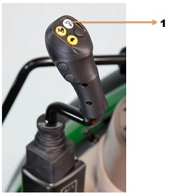 Loader suspension button on the mechanical joystick