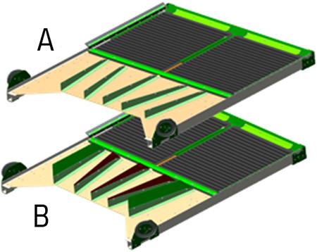 Bandeja de recolha (A) e conjunto de ladeiras (B) atuais