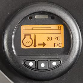Ecrã da temperatura do líquido de refrigeração do motor