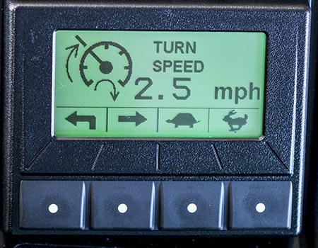 Velocidade de curva no ecrã TechControl