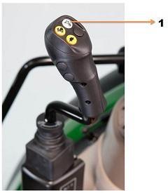 Botão da suspensão da pá carregadora no joystick mecânico
