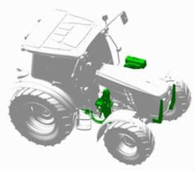 Trator com preparação para pá carregadora frontal compatível com trator 5M