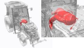 Séries 5GF, 5GN e 5GV Fase IIIB: catalisador de oxidação diesel (DOC) e filtro de partículas diesel (DPF) debaixo do capô (vista ângulo superior)