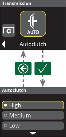 Definições AutoClutch no monitor do poste