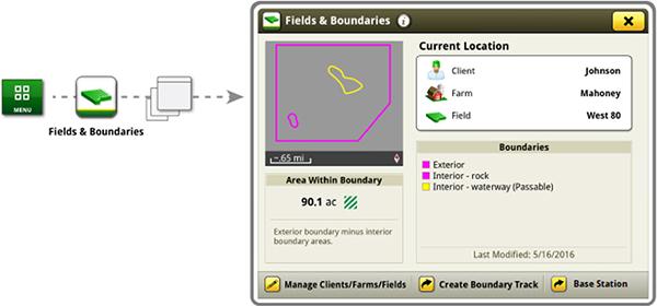 Настройка базовых станций в приложении «Fields and Boundaries» (Поля и границы)