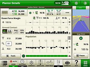 Экран IRHD, показывающий график контакта с почвой