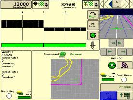 Страница управления сеялкой точного высева в режиме половинного экрана (система SeedStar2)