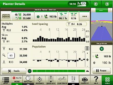 Рабочая страница функции контроля соблюдения шага высева в системе SeedStar 4HP