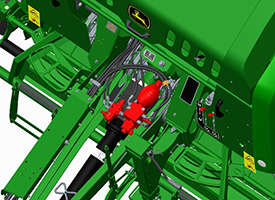 Baltätheten kan justeras från ISOBUS-monitorer via en proportionell täthetsventil