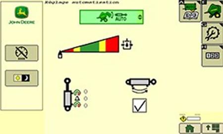 Alla inställningar för traktor/balpressautomatik kan enkelt justeras efter förarens önskemål