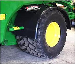 Extra breda 750 mm däck med enkel axel