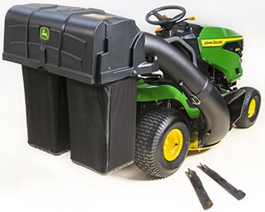 229 l (6,5 bu) gräsuppsamlare och utkast, visas på en amerikansk traktormodell
