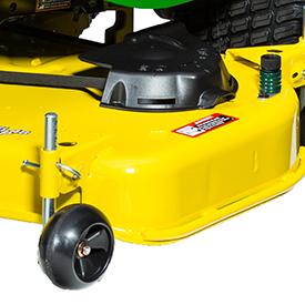 Enkelt att justera klippdäckets hjul och nförstärkning på klippdäckets sida