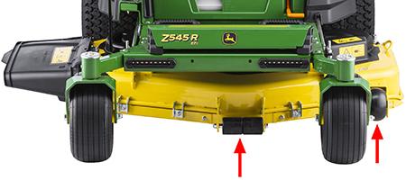 Höger och vänster antiskalperingshjul och mittrullar