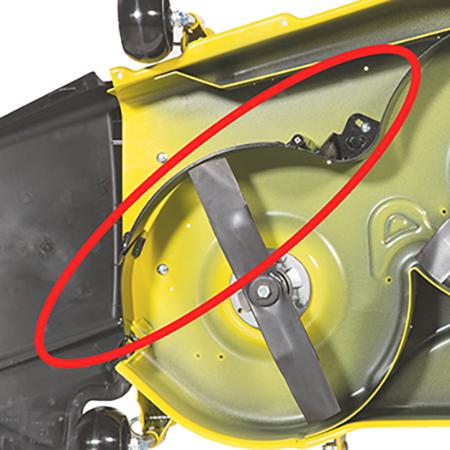 MulchControl med avskärmningsplåten i stängt läge