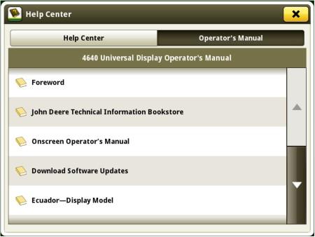 Acceda al manual del operador más reciente desde el monitor