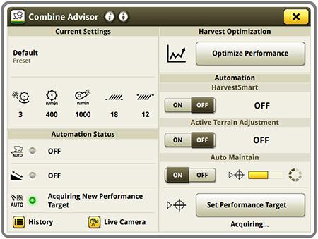 Página de ejecución de Combine Advisor