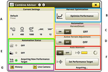 La página de ejecución de Combine Advisor cambia a partir del año de fabricación 2020