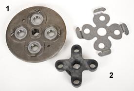 Engranaje de cruceta derecho para empacadora Premium (1) y engranaje de cruceta derecho para empacadora de rollo de la serie 9 (2)
