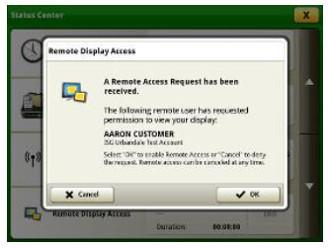 Solicitud de acceso remoto en la pantalla de la máquina